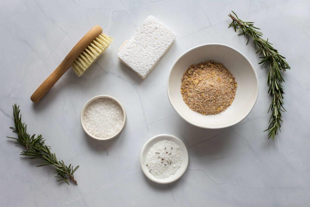 bamboo brush and natural exfoliant powders