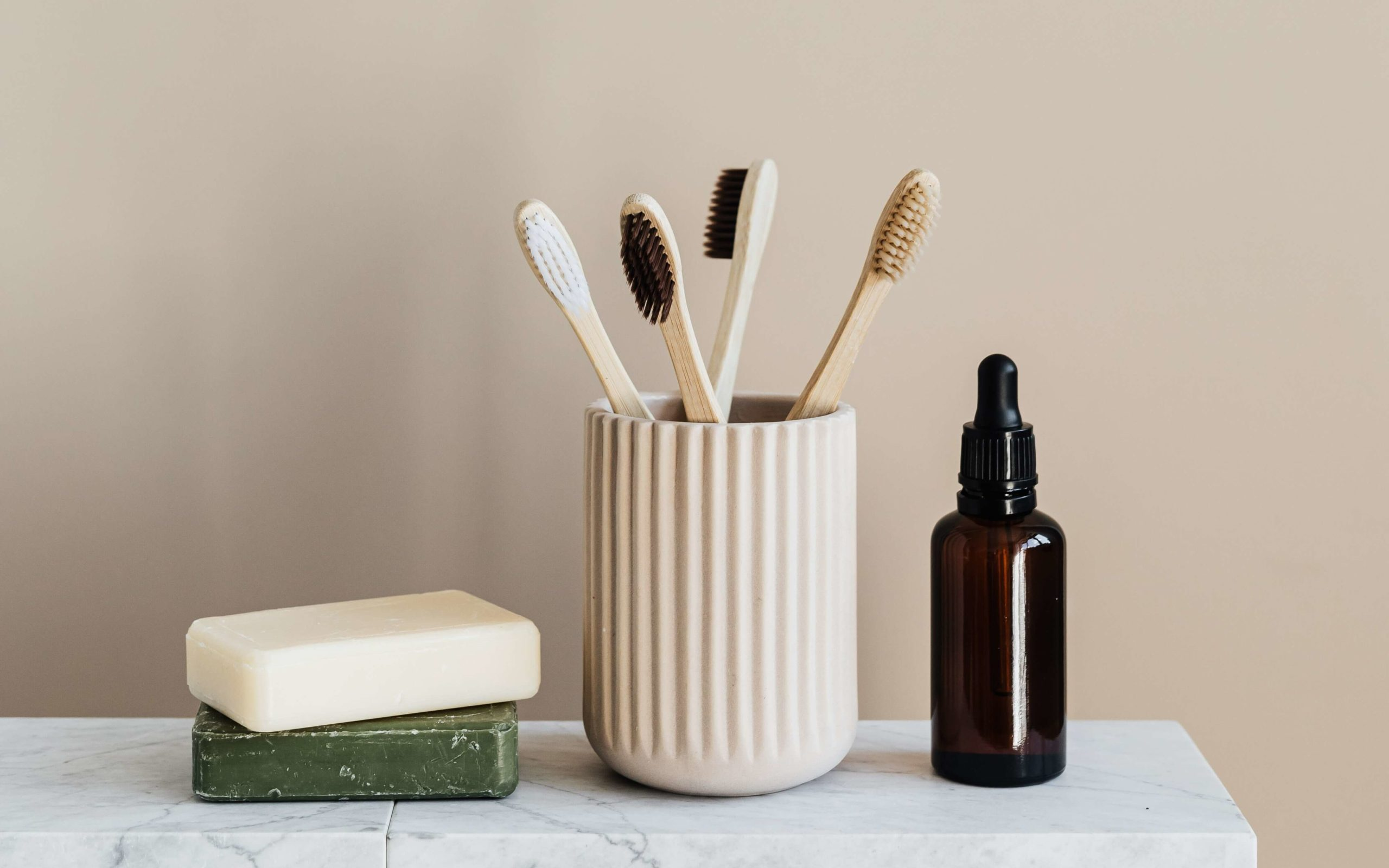 soap, bamboo toothbrushes, and bamboo skincare product
